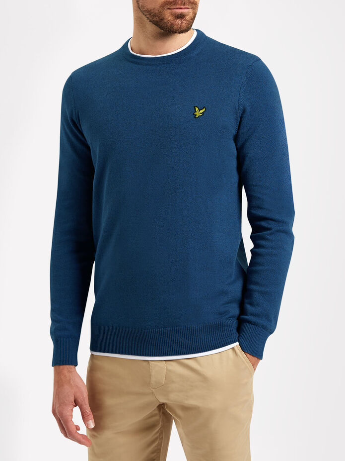 Crew Neck Cotton Merino Jumper, , hi-res