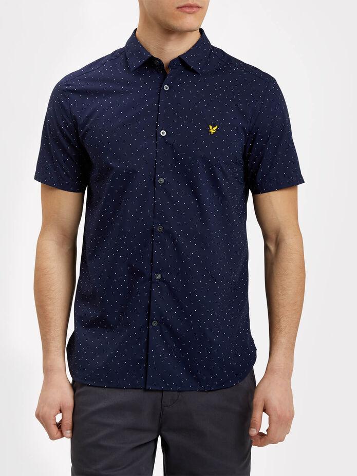 Mini Square Dot Pattern Short Sleeve Shirt, , hi-res