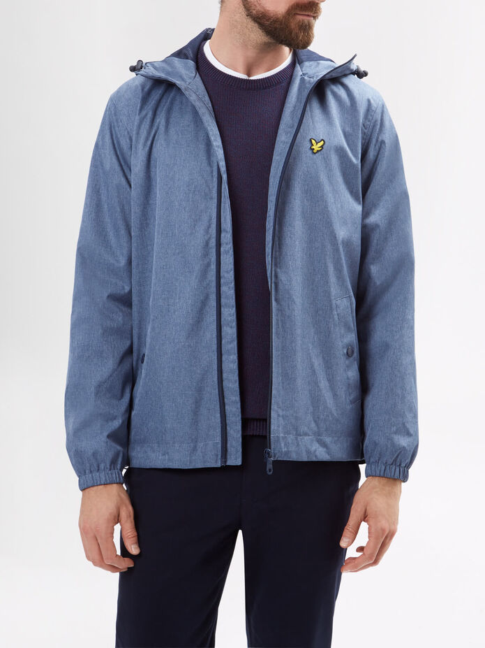 Zip Through Hooded Marl Jacket, , hi-res