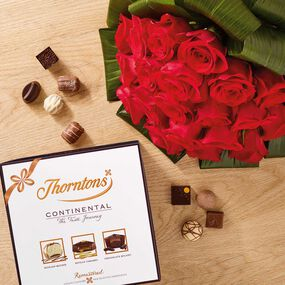 Premium Red Roses Bouquet & Continental Parcel