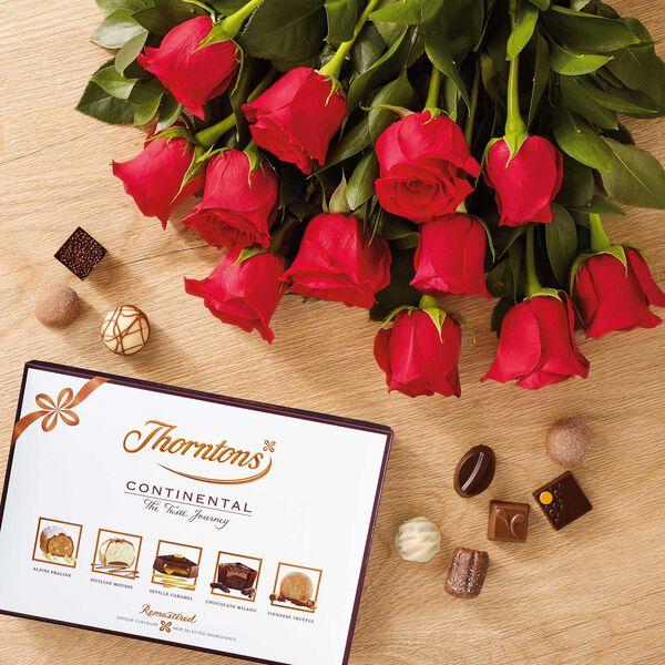 Dozen Red Roses & Continental Chocolate Box