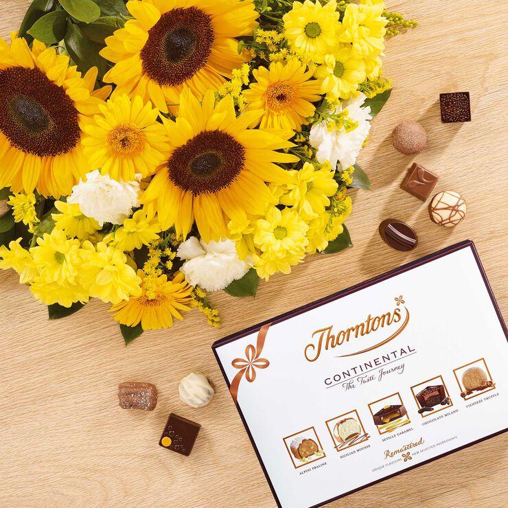 Sunflower Bouquet & ContinentalChocolate Box