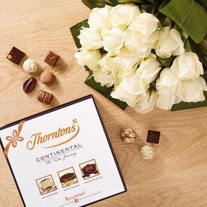 Premium White Roses Bouquet & Continental Box