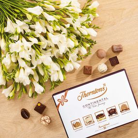 White Freesia Bouquet & Continental Chocolate Box