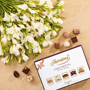 White Freesia Bouquet & Continental Chocolate Box