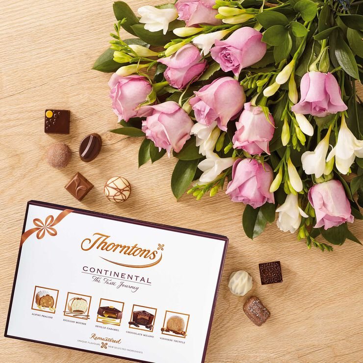 Roses and Freesia Bouquet & Continental Chocolate Box