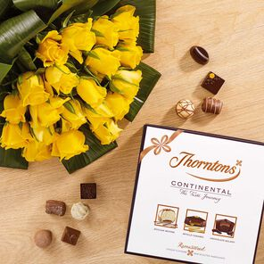 20 Premium Yellow Roses and 432g Continental Parcel