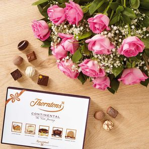 Dozen Pink Roses & Continental Chocolate Box