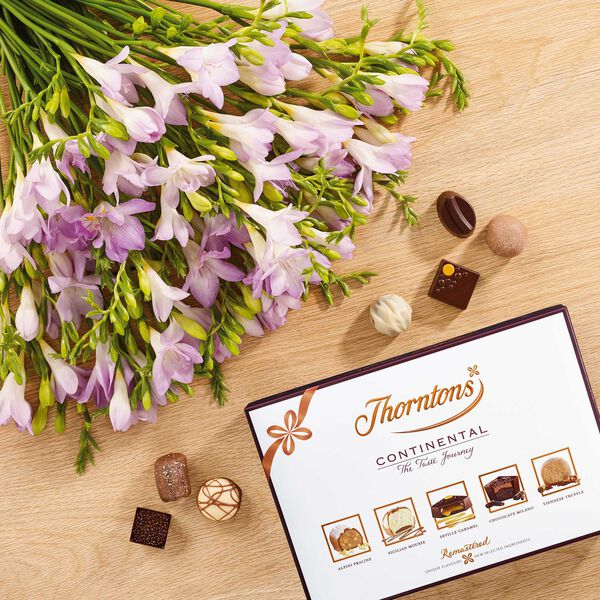 Lilac Freesia Bouquet & Continental Chocolate Box