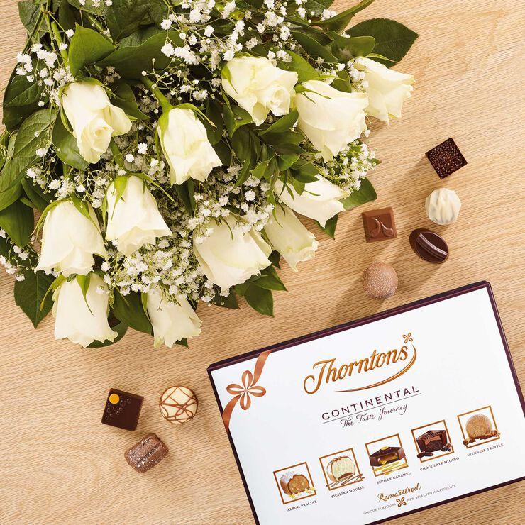 Dozen White Roses & ContinentalChocolate Box