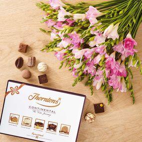 Pink Freesia Bouquet & ContinentalChocolate Box