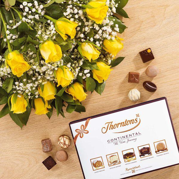 Dozen Yellow Roses & ContinentalChocolate Box