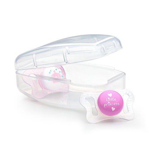 NaturalFit 0-2M mi-cro Set of 2 Pacifiers - Pink in