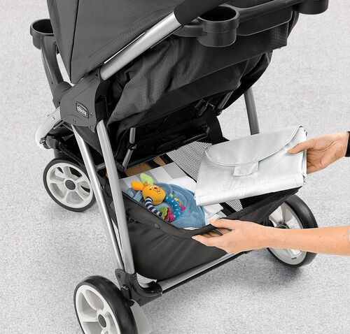 The Viaro stroller by Chicco features a large carriage basket with room for toys, snacks, and essentials