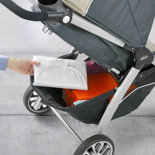 Capacious basket easily accessed from front or rear of the Bravo stroller