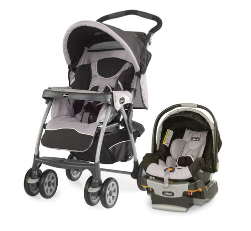 Chicco Cortina Stroller and KeyFit 30 Infant Car Seat and Base in light gray and black - Romantic Style - cortina keyfit 30 travel system romantic