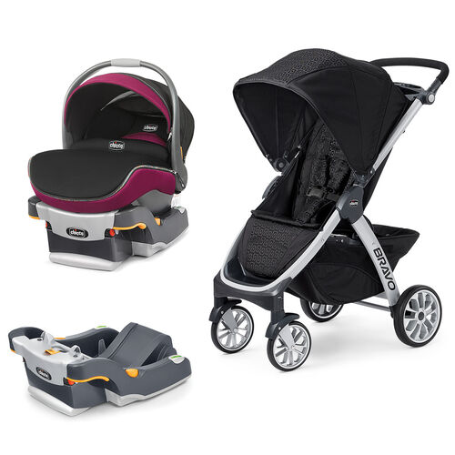 Mix & Match KeyFit 30 Zip Infant Car Seat - Fuchsia + Bravo Stroller Bundle - Free Additional Base in