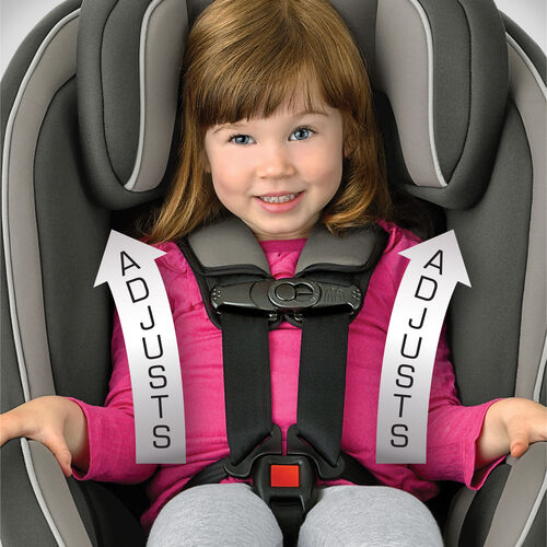 The NextFit Convertible Car Seat head rest and shoulder straps can be adjusted in a single step