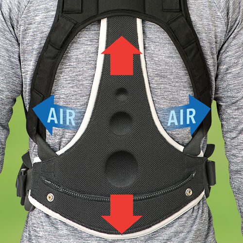 Structured lumbar support on the Close To You Baby Carrier distributes weight while still letting in airflow