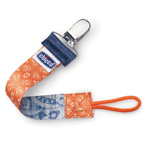 Chicco NaturalFit Fabric Pacifier Clip - Orange Fleur