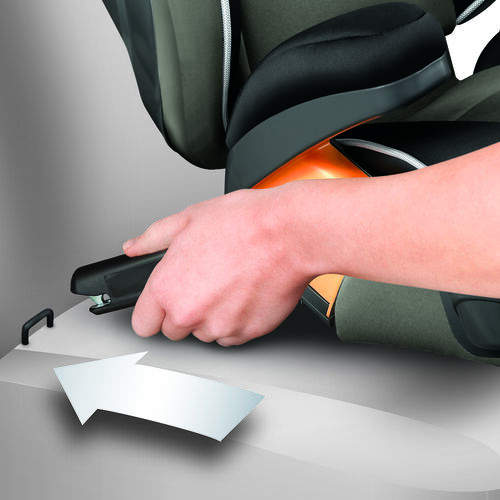 The KidFit Booster Car Seat connects to your vehicle using the LATCH hook connectors