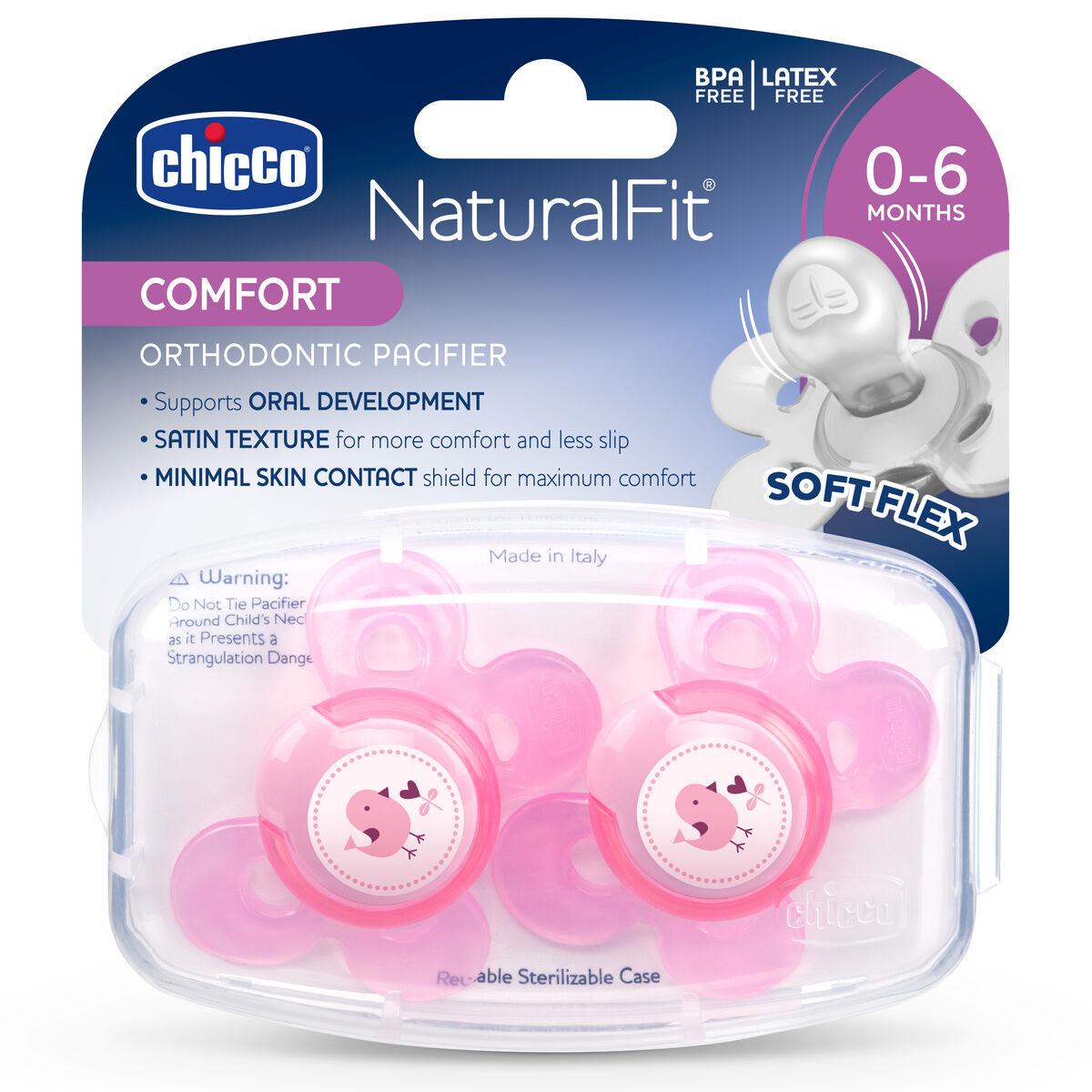Naturalfit Comfort Shield 0 6m Set Of 2 Pacifiers Pink