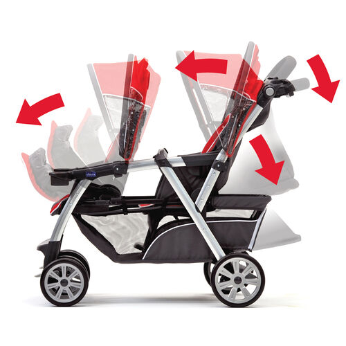 The front and back seats on the Cortina Together Double Stroller both adjust to hold a KeyFit 30 Infant Car Seat and form a travel system
