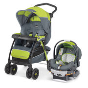 The Cortina CX stroller features one hand fold and memory recline position and includes the KeyFit 30 infant car seat