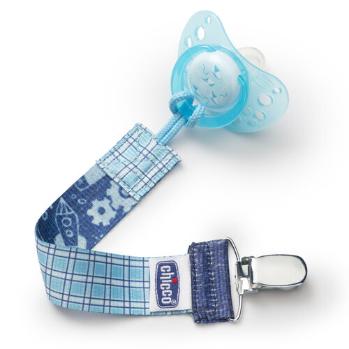 The Chicco NaturalFit Pacifier Clip in Cyan Gingham fits most styles of pacifiers