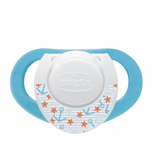 Chicco NaturalFit Deco 4M+ Orthodontic Pacifiers - Aqua blue with anchors and stars nautical pattern