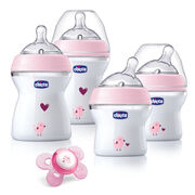 Chicco NaturalFit® Newborn Gift Set. The four included NaturalFit® bottles are specially designed to bio-mimic the breast in form, feel and function