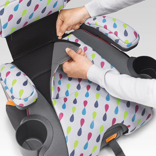 Seat pad and armrests can be removed with the pull of a zipper so you can wash your KidFit Zip Booster Car Seat seat pads in the washing machine