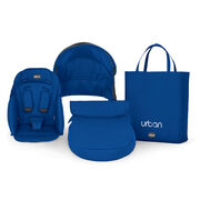 Chicco Urban Stroller Color Pack with blue boot, seat, canopy insert, and tote bag