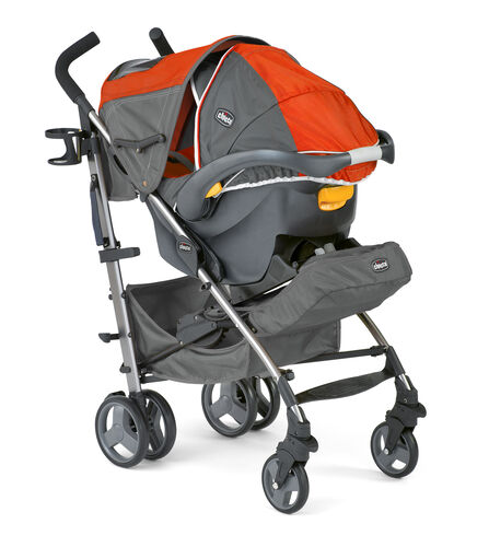 The adjustable canopy on the Chicco Liteway Plus Stroller has a peek-a-boo window so you can easily check in on baby when using the Chicco lightweight travel system