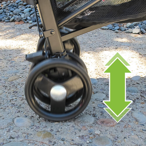 Rear wheel suspension on the Liteway Stroller ensures a smooth ride on a wider variety of surfaces