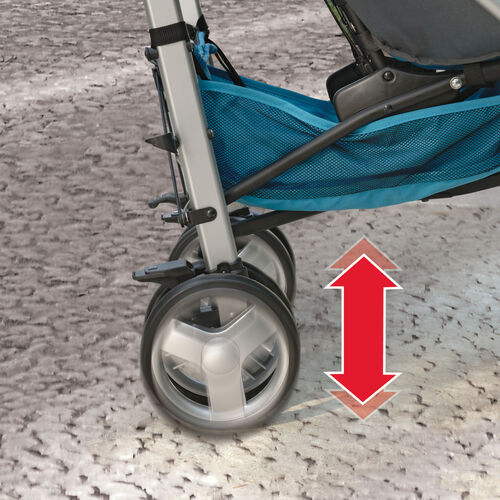 Rear wheel suspension on the Chicco Liteway Stroller Romantic for a smoother ride