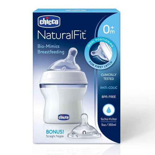 NaturalFit 5 oz. 0m+ Slow Flow Bottle & Bonus Nipple in