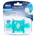 NaturalFit 6-12M Soft Silicone Orthodontic Set of 2 Pacifiers - Blue in