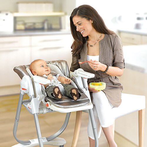 CradleRecline feature allows for easy feeding of infants in the Polly Magic Highchair