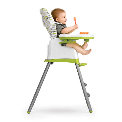 Highchair configuration for infants who are just starting to sit up and eat first foods