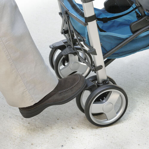 Rear wheel parking brakes on the Liteway Stroller are foot-activated and keep your stroller from rolling away