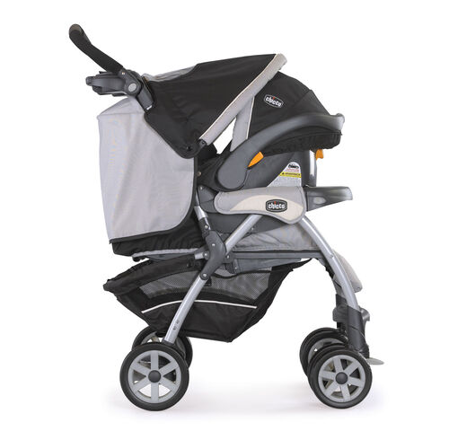 The KeyFit 30 Infant Car Seat snaps in to the Cortina Stroller to be used as the chicco keyfit 30 cortina travel system romantic