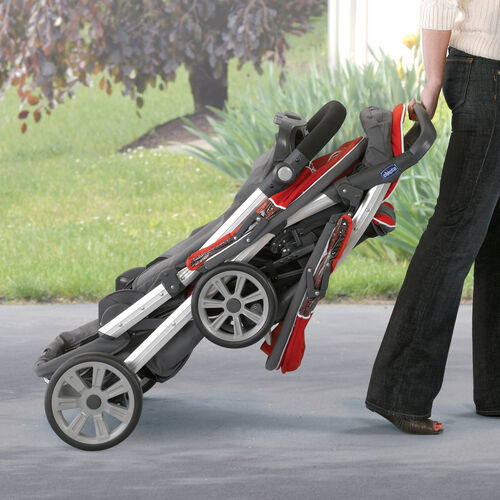 The Cortina Together Double Stroller has a one-hand activated fold and a convenient automatic storage latch