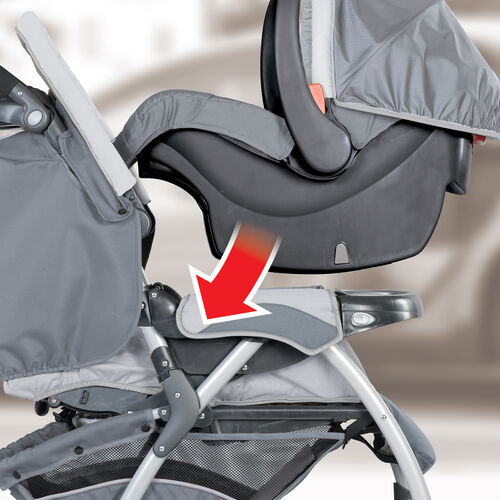 The KeyFit 30 Infant Car Seat clicks into place in the Cortina SE Stroller