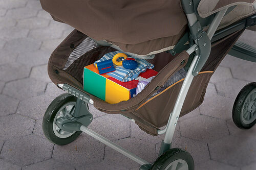 Large storage basket on Cortina Stroller is accessible from any position