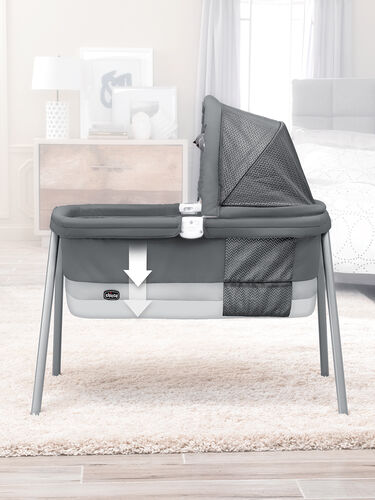 The 2-tier designs allows for the bassinet floor to be raised closer to parents