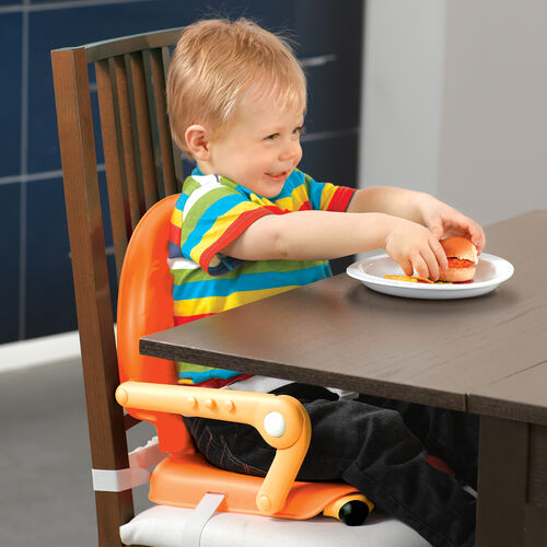 The Pocket snack booster seat is designed for use on dining room tables