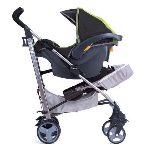 The Liteway Plus stroller easily converts into a travel system accepting all KeyFit infant car seat models