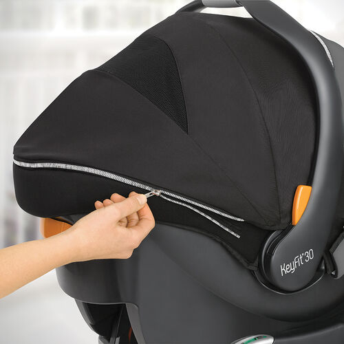 Zip-off, machine-washable canopy is easy to care for