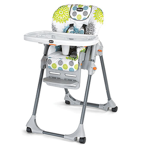 Chicco Polly SE Highchair in a bright citrus green, aqua, and gray patterned fabric - Zest
